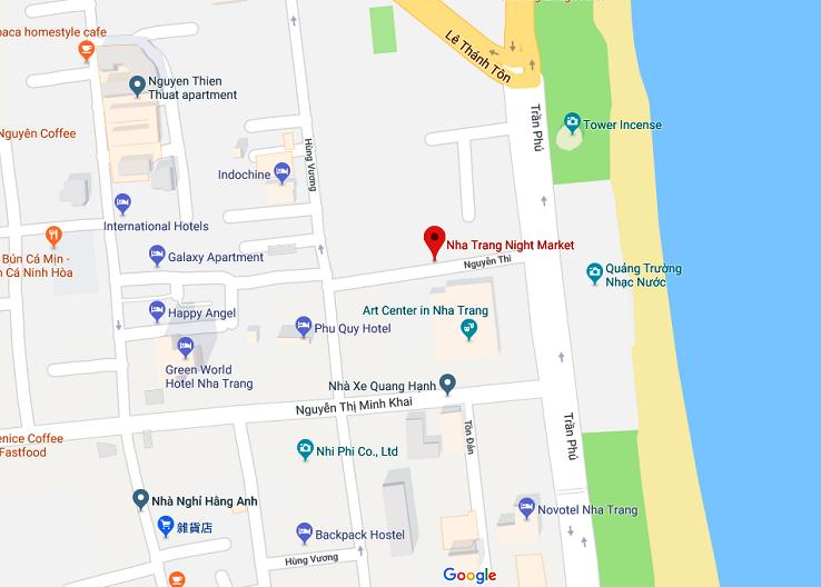芽莊夜市地圖