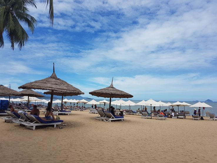 沿著海邊走都是沙灘椅