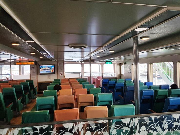 船分成3層,下層是車輛,中層是室內船艙,最上層則是戶外夾板。